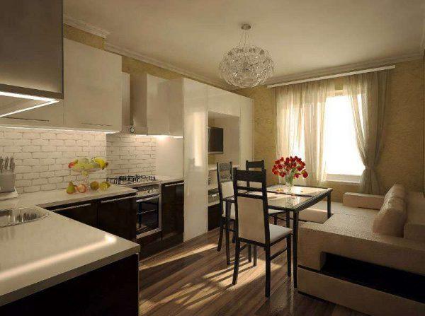угловой диван с обеденным столом в интерьере кухни гостиной 17 кв. м