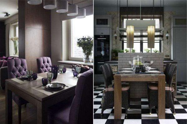 обеденные столы с освещением в интерьере кухни гостиной 17 кв. м