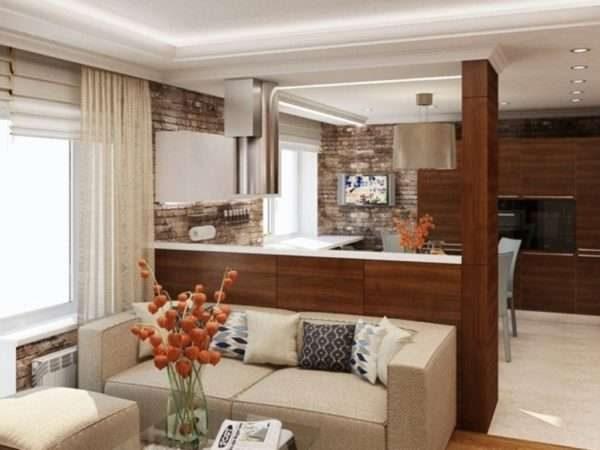 перегородка в интерьере кухни гостиной 17 кв. м