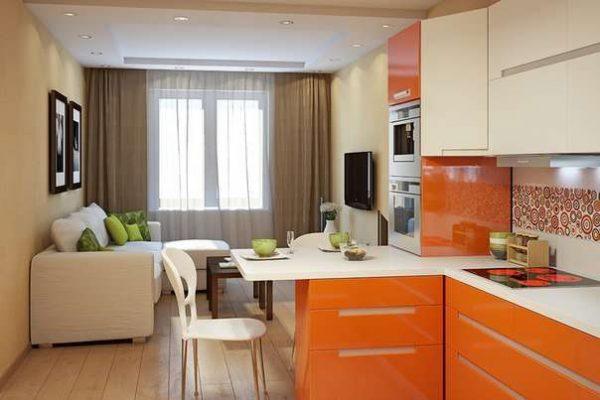 оранжевый и белый в интерьере кухни гостиной 17 кв. метров