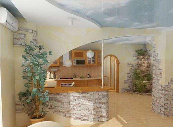 Гостиная совмещенная с кухней с гипсокартонными перегородками