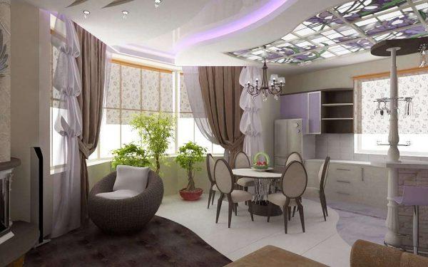 Гостиная совмещенная с кухней со шторами