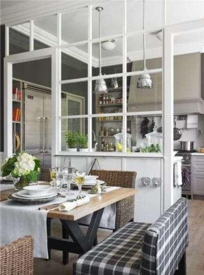 Гостиная совмещенная с кухней с перегородкой