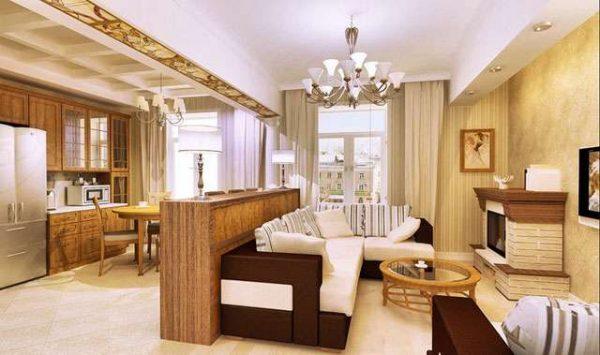 перегородка в гостиной совмещённой с кухней