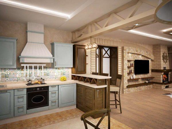 Гостиная совмещенная с кухней с отделкой из натуральных материалов