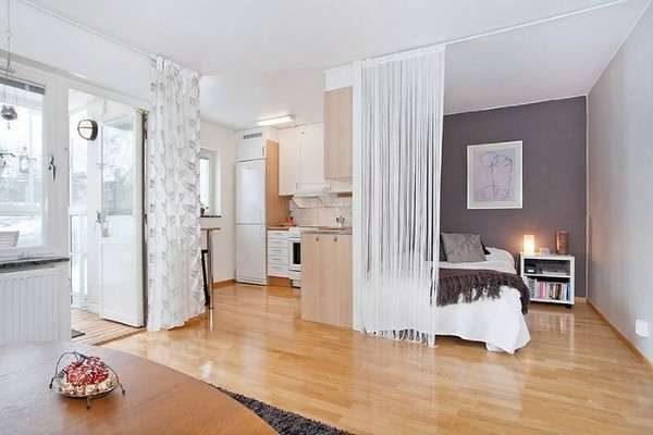 зонирование шторами в интерьере кухни гостиной