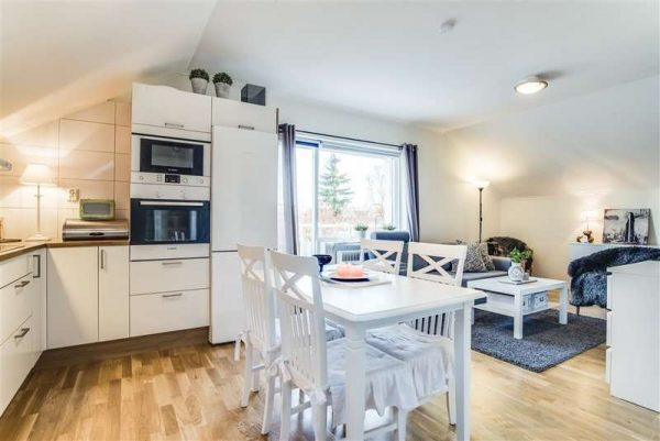 зонирование с помощью мебели в интерьере кухни гостиной