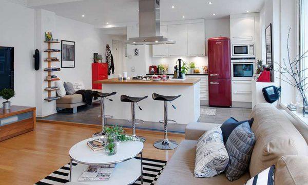 скандинавский стиль в интерьере кухни-гостиной