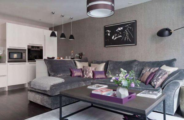 ковёр в качестве зонирования кухни-гостиной