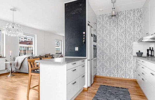 Дизайн кухни гостиной с зонированием мебелью