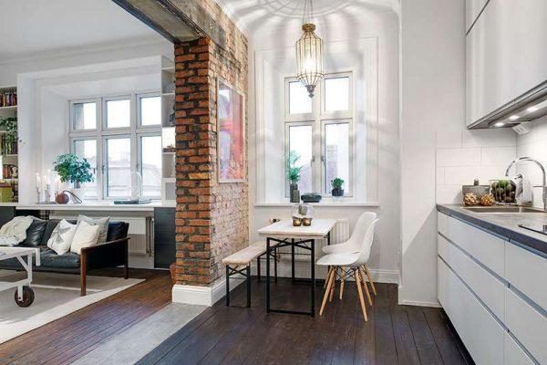 интерьер кухни гостиной с зонированием