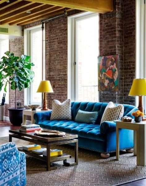 чердачный стиль лофт в интерьере современной гостиной