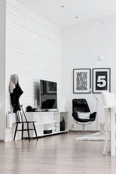 чёрно белый интерьер современной гостиной