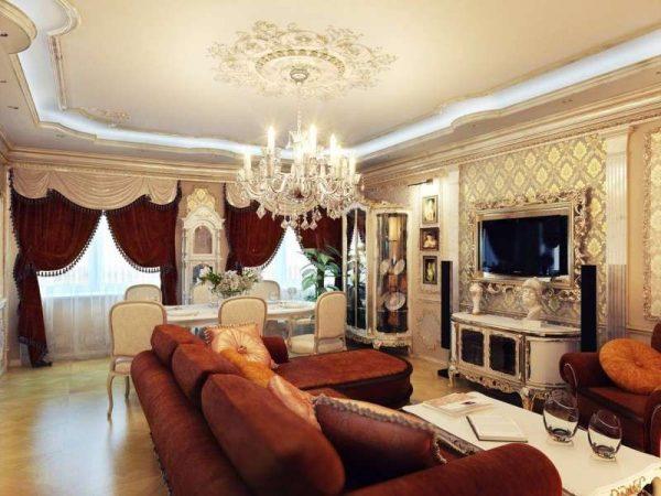 Оформление стен в гостиной с классическим интерьером