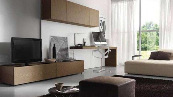 стильная гостиная модерн с телевизором