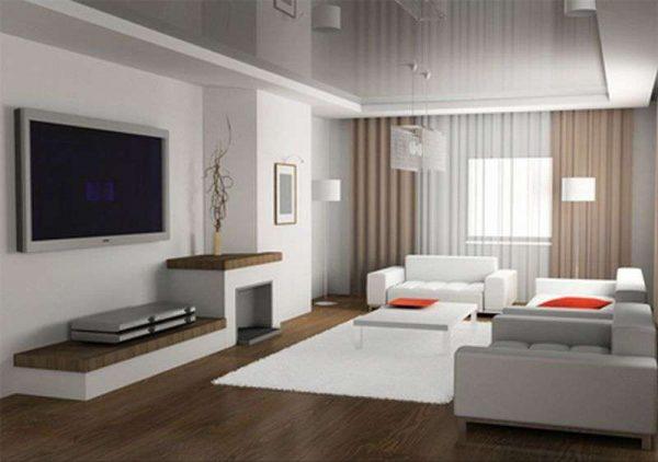 Гостиная в стиле минимализм с телевизором