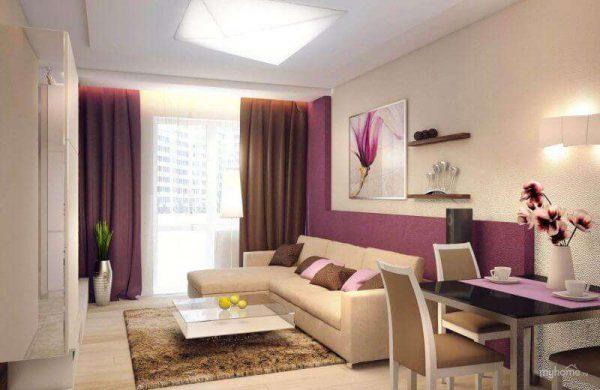 фиолетовые шторы в гостиной в бежево-сиреневых тонах