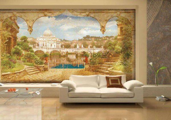 Фреска в классическом исполнении в интерьере гостиной