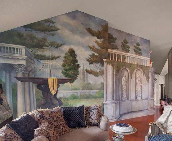 фреска в интерьере просторной гостиной
