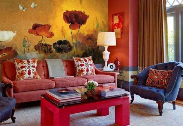 фреска с изображением маков в интерьере гостиной