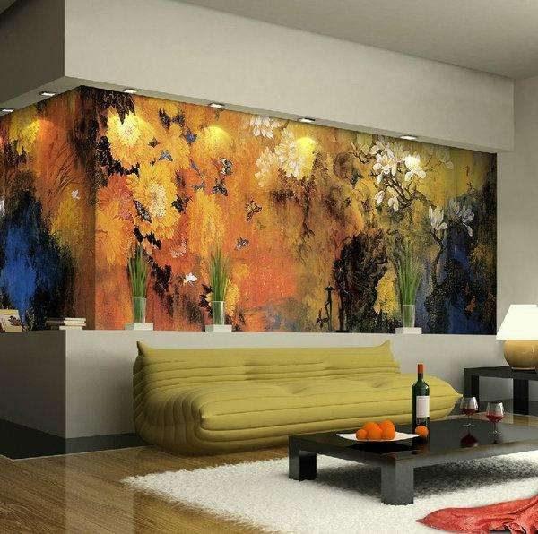 стильная фреска в интерьере гостиной