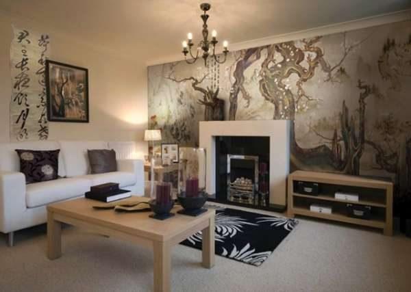 фреска в интерьере гостиной в восточном стиле