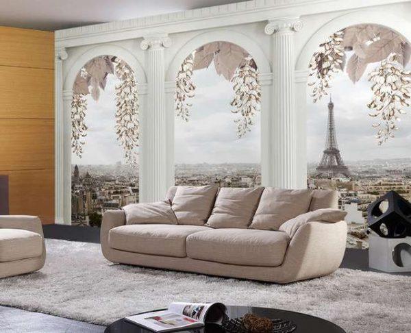 фреска с колонами в интерьере гостиной