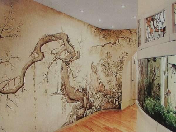 фреска в интерьере гостиной с изогнутой стеной