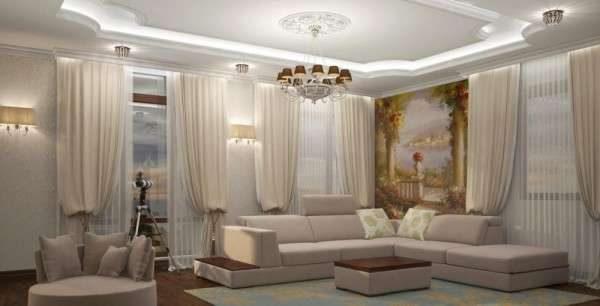 фреска в интерьере белой гостиной