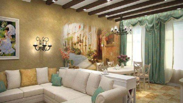 фреска по штукатурке в интерьере гостиной