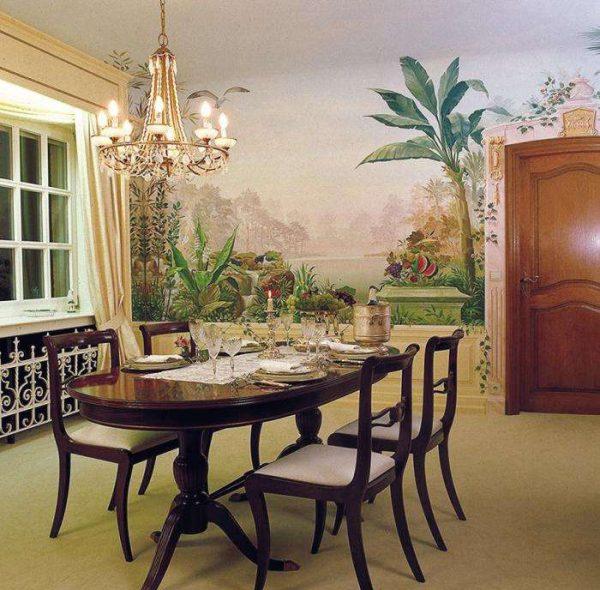 фреска с пейзажем в интерьере гостиной