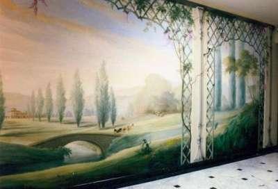 фреска с видами природы в интерьере гостиной