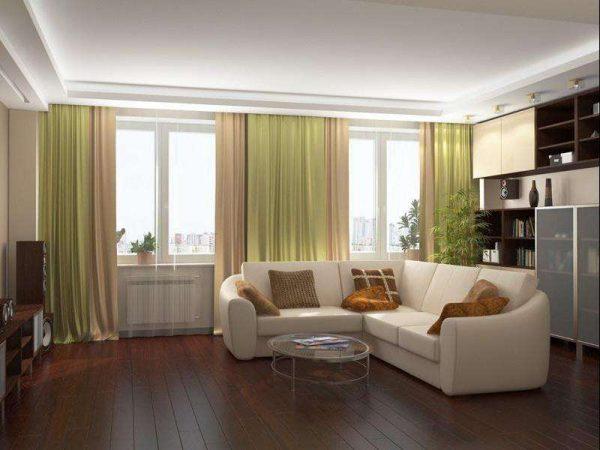 гостиная с двумя окнами с тёмным полом