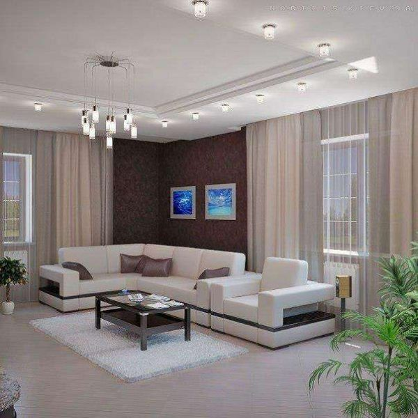 гостиная с двумя окнами со светлым полом