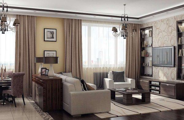 гостиная с двумя окнами в пастельных тонах