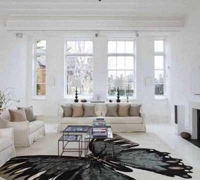 интерьер гостиной с двумя окнами с бабочкой на полу