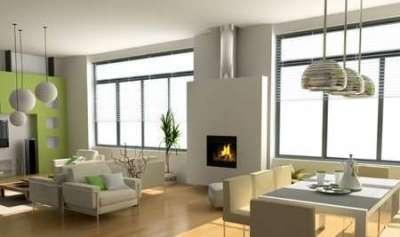 интерьер гостиной с двумя окнами без штор