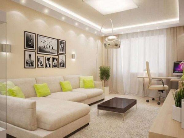 гостиная 16 кв. метров с угловым диваном