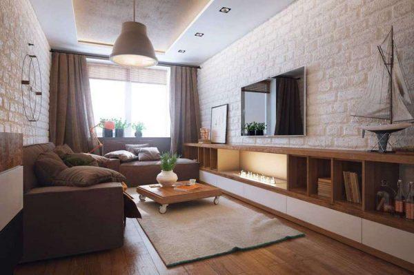многоярусный потолок в гостиной