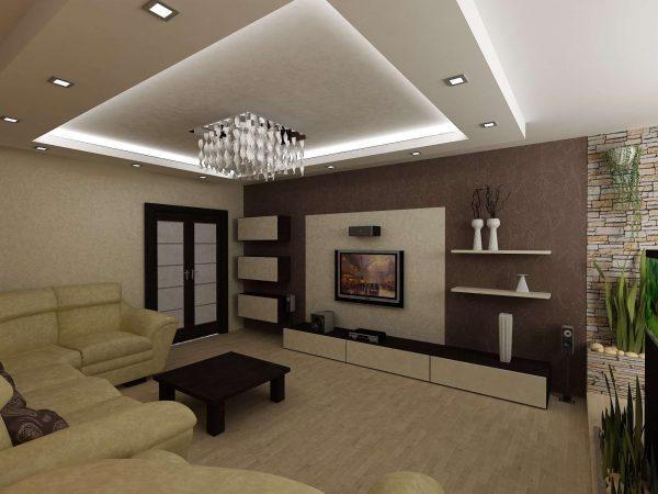 гостиная 16 кв. метров с бежевым полом