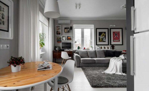 гостиная 16 кв. метров в квартире студии