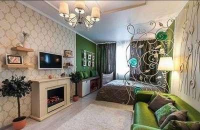 гостиная 16 кв. метров совмещённая со спальней