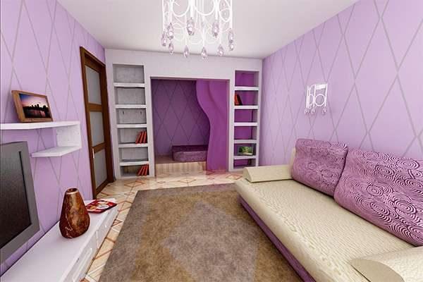 фиолетовый цвет в гостиной 16 кв. метров