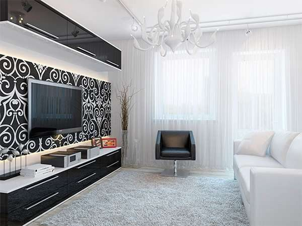 чёрно-белая гостиная 16 кв. метров