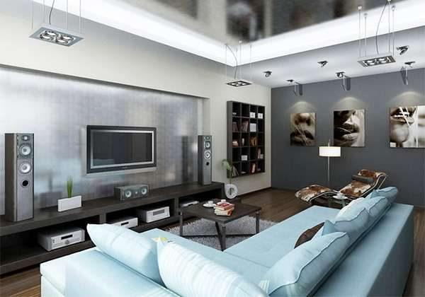 угловой диван в гостиной 16 кв. метров