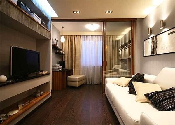 зонирование раздвижными дверями в гостиной 16 кв. метров