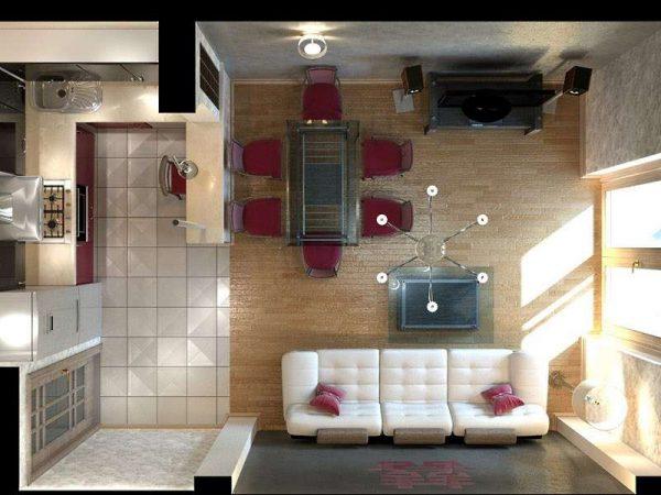 проект гостиной 20 квадратных метров