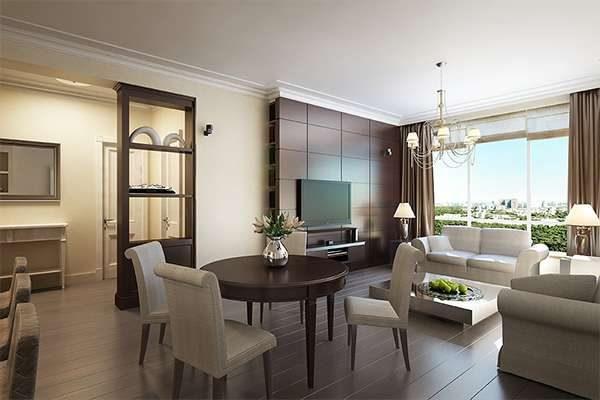 белый гарнитур в интерьере гостиной 20 кв. метров