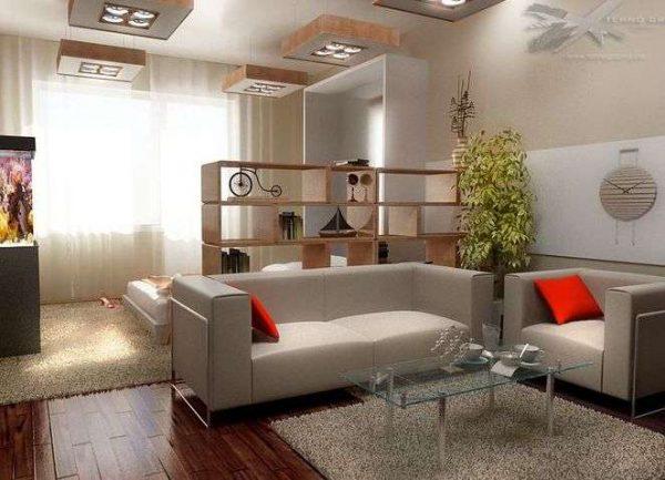 диван и кресло в спальне-гостиной