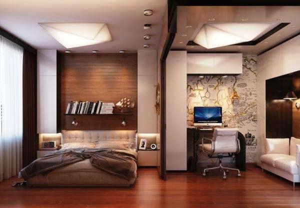 рабочий кабинет в интерьере спальни-гостиной